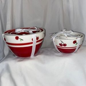 Set of Cherry Nesting Bowls & Measuring Cups